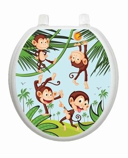 Monkey Business TT-1056-R Round Whimsical Kids Cover Bathroom by Toilet Tattoo