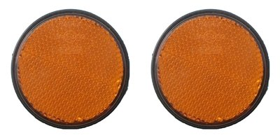 A pair of trailer and truck reflectors round stick on 2 x amber Pt no. LMX1632 Leisure Mart