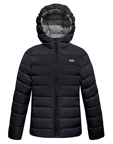 Wantdo Boy's Puffer Down Hooded Jacket Packable Outdoor Coat Black 14/16