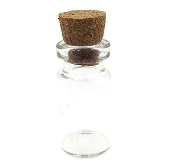 10 pieza, Mini - Botellas de cristal con Corchos, forma de cilindro, 2,8 cmx1,4 cm: Amazon.es: Hogar