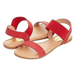 599ecdebc18399 Womens Summer Flat Sandals Open Toe Wide Elastic Strap Sandal