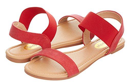 Floopi Womens Summer Flat Sandals Open Toe Wide Elastic Strap Sandal (7, Red-508) (Sandals Suede Slip)