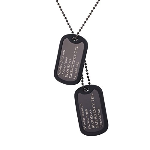 Custom Engraved Dog Tag Pendant with Black Gun Plated Chain 23
