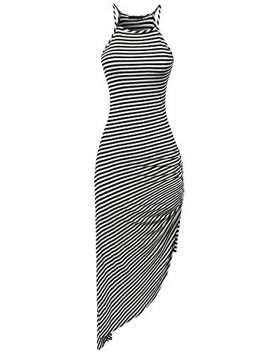 Eliacher Women's Spaghetti Strap Sleeveless Casual Bodycon Midi Dress  Black and White Stripe Small (Bust  72-82cm/28.30-32.30