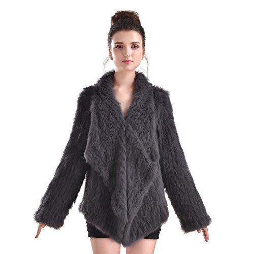 Manteau de fourrure en lapin - Veste en fourrure pour femmes en tricot d'hiver Outwear With Pocket Gris Fonc
