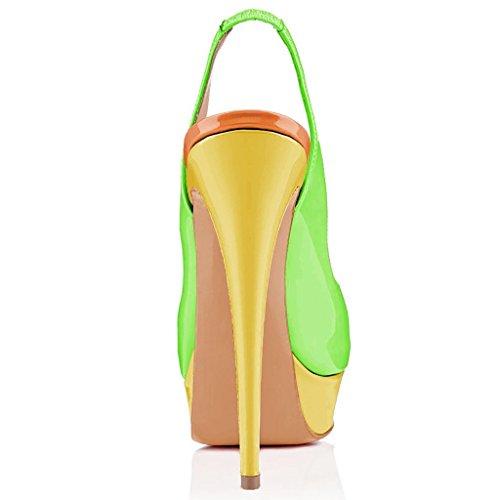 Donna Da Scarpe Tacco toe Peep Giallo E Alto Verde Sirena Indietro Sling Sandali qAqRc5