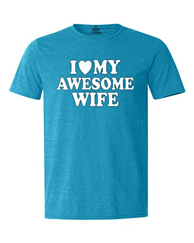 Shop4Ever I Love My Awesome Wife T-shirt Couples Shirts X-Large Heather Sapphire0