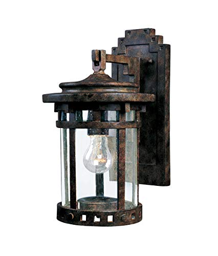 Maxim 3131CDSE Santa Barbara Cast 1-Light Outdoor Wall Lantern, Sienna Finish, Seedy Glass, MB Incandescent Incandescent Bulb , 100W Max., Dry Safety Rating, Standard Dimmable, Glass Shade Material, 13800 Rated Lumens