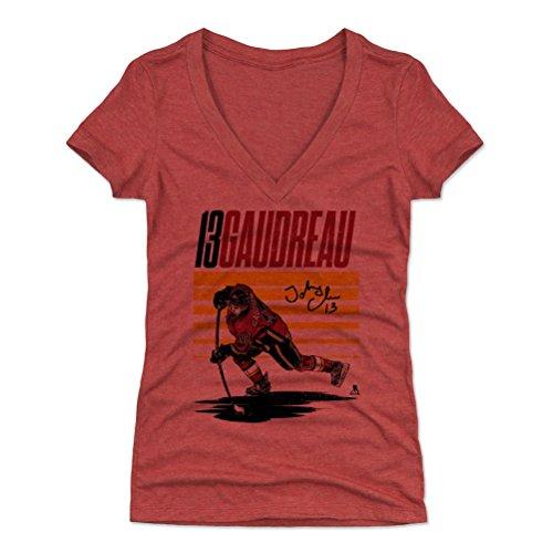- 500 LEVEL Johnny Gaudreau Women's V-Neck Shirt (Medium, Tri Red) - Calgary Flames Shirt for Women - Johnny Gaudreau Starter Y