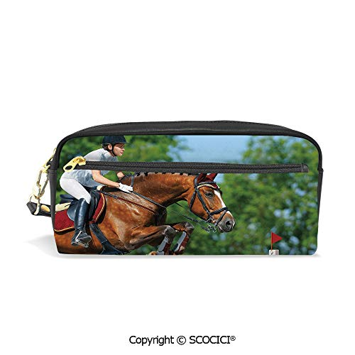 - Students PU Pencil Case Pouch Women Purse Wallet Bag Young Woman Jumping with Bay Horse Competition Hurdle Obstacle Training Mare Waterproof Large Capacity Hand Mini Cosmetic Makeup Bag