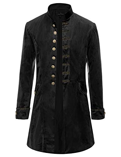 PJ PAUL JONES Mens Gothic Victorian Tuxedo Coat Pirate Costume Renaissance Tailcoat Black -