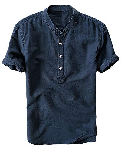 Enjoybuy Mens Henley Linen Shirts Short Sleeve Banded Collar Hidden Buttons Plain Summer T-Shirt Top (X-Large, 02-Navy)