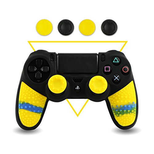 Silicone PS4 Controller Skin - BPA Free Protector Cover Case for Sony PlayStation 4 Controller with Matching Thumb Grips, 2 Sets Camouflage Yellow