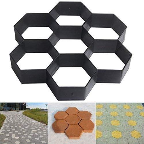 Malayas Molde para Cemento Molde para Hormigón Hacer Pavimientos Caminos Jardín Patio Balcón Terraza Material de Plástico Resistente Forma Hexagonal 29x29cm: Amazon.es: Jardín