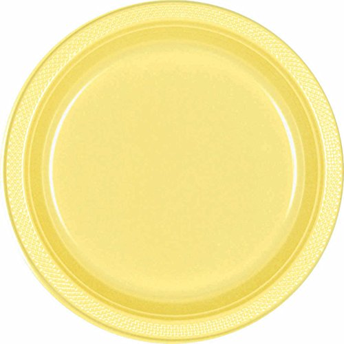 Light Yellow Round Plastic Plates| 7