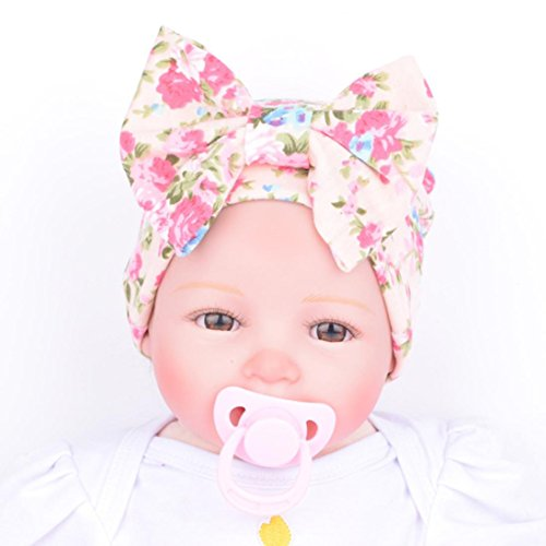 Mikey Store Newborn Baby Hospital Hat With Flower Bowknot Flower (Crochet Preemie Booties)