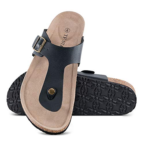 (TF STAR Men's Thong Flip Flop Flat Casual Cork Sandals with Buckle Strap,Leather Cork Gizeh Sandals for Men Black)