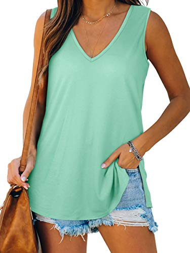 Dofaoo Women's Tank Tops V Neck T Shirts Basic Sleeveless Shirts Side Split Tunic