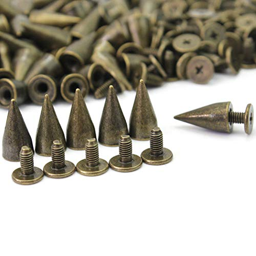 RUBYCA 100 Sets 13MM Bronze Color Bullet Cone Spike and Stud Metal Screw Back for DIY Leather-craft