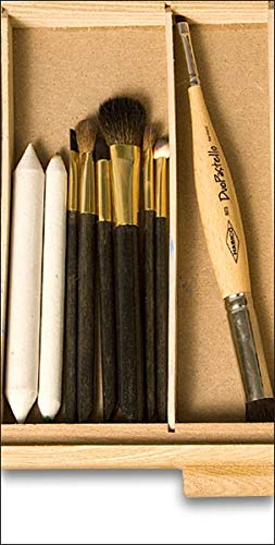 Sturdy /& Stackable Wooden 3 Drawer Paint Brushes /& Makeup Brushes -Natural Finish 9/½ D /× 16 W /× 3/¼ H Creative Mark Pastel Storage Box Art Tools Perfect for Pastels