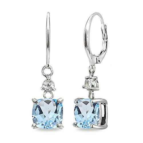 Cushion Cut Blue Topaz Earrings - Sterling Silver Blue & White Topaz 7mm Cushion-cut Dangle Leverback Earrings