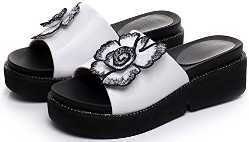 Aisun Damen Süß Blumen Open Toe Dick Sohle Ohne Verschluss Pantoffeln Weiß