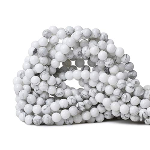 CHEAVIAN 6mm 60PCS Natural White Howlite Gemstone Round Loose stone Beads for Jewelry Making DIY Crafts Design 1 Strand - Howlite Strands Beads