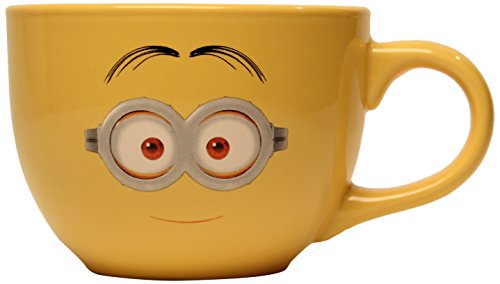 Silver Buffalo DM8124 Despicable Me One-Eyed Minion/Two-eyed minion Ceramic Soup Mug, 24-Ounces