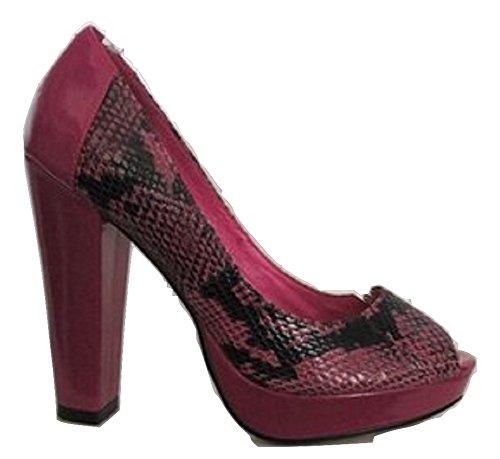 Moda In Pelle Pink Schlange Haut Effekt Peep Toe Pumps