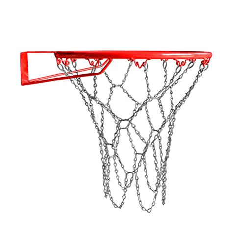 Vankcp Metal Basketball Net with 12 Closure Hoops, Fits All Basketball Hoop Standard Size Rims, Indoor or Outdoor