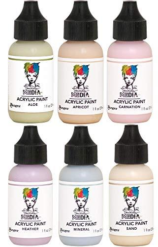 Dina Wakley - 2019 Heavy Body Acrylic Paints - One Ounce Bottles - Aloe, Apricot, Carnation, Heather, Mineral & Sand - 6 Bottle Set