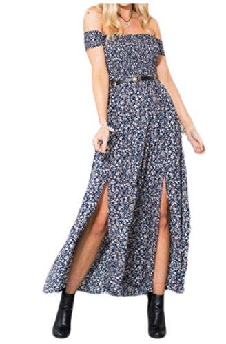 Jaycargogo Femmes Robe D'été De L'épaule Ajustement Confortable Dresseses Maxi Floraux Occasionnels 1