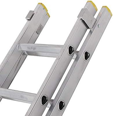 Escalera extensible de aluminio de 3 m - 5 m con doble sección y patas estabilizadoras - 22