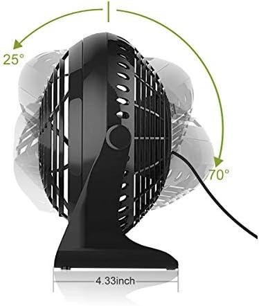 VGUARD USB Fan, 6 Inch Mini Desk Fan with USB Desktop Table 360 ° Rotation Cooling Fan for PC Home Office or Travel - Black