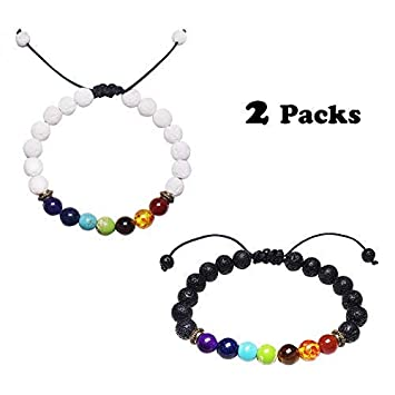 Natural & Alternative Remedies Fashion Jewelry Lava Stones Bracelet Chakra Lava Stone With 2 Essential Oils
