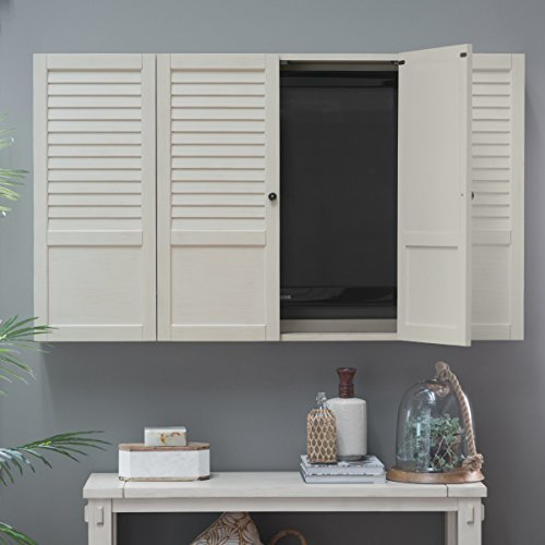 Nantucket Shutter Front TV Wall Cabinet - White
