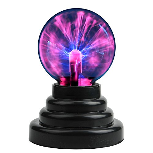 CozyCabin Plasma Ball Light, Thunder Lightning Plug-In Touch Sensitive - USB or Battery Powered For Parties, Decorations, Kids, Bedroom, Home, Gifts, 3 Inch