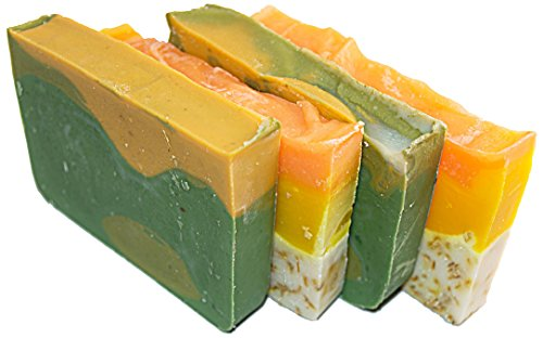 Citrus Soap Bar Set (4 Guest Bars)-all Natural Handmade Soaps with Orange Essential Oil. 2 Orange & Calendula and 2 Avocado & Citrus Soaps. Set of 4 - 2 Oz (Guest Soap Collection)