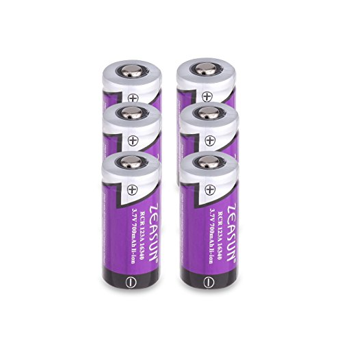 Zeasun CR123A RechargeabZeasun CR123A Li-ion Batteries [Ule Batteries for Arlo Security Cameras (VMC3030/VMK3200/VMS3330/3430/3530) [Upgraded] 3.7V 700mAh 16340(123/123A) Lithium-ion Batteries,4 Pack