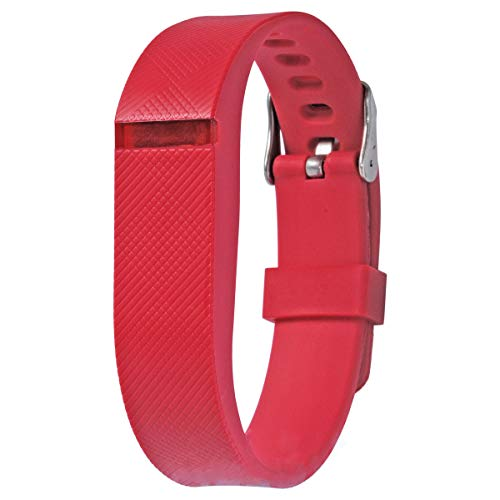 Allbingo Fitbit Flex Adjustable Wristband - Fitbit Flex Silicone Replacement Secure Band with Chrome Watch Clasp and Fastener Buckle - Fix The Tracker Fall Off Problem (Red x 1)