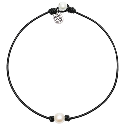 (Single Cultured Freshwater Pearl Chokers for Girls Handmade Black Leather One Bead Pendant Jewelry for Women Fashion Boho Necklace Choker with Pearl for Valentine's Day Gift 14