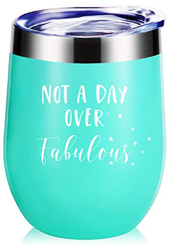 Best Birthday Gifts.Not a Day Over Fabulous Wine Glass Tumbler With Funny Sayings.Mothers Day Gifts,Christmas Gifts for Women,Best Friends,Coworkers,Daughter,Bestie,Grandma,Mom Mug