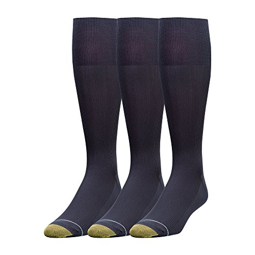 Wool Over Socks Calf - Gold Toe Men's 3-Pack Metropolitan Over-the-Calf Dress Socks, Navy, 10-13 (Shoe Size 6-12.5)