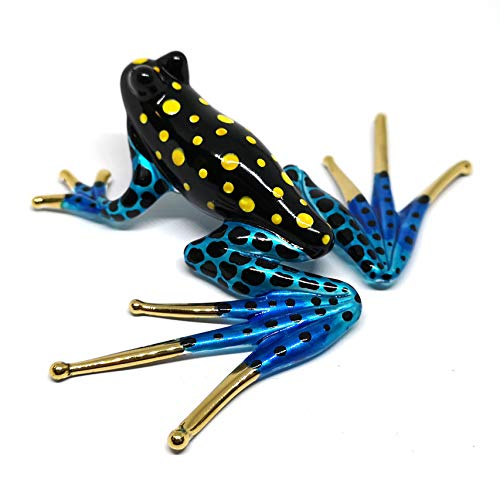 ZOOCRAFT Collectible Frog Figurines Blown Glass Hand Painted Animals Lovers Gift Collection Miniature Home Garden DIY Decor