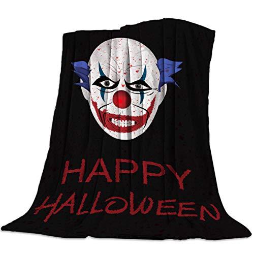 YEHO Art Gallery 49x59 Inch Flannel Fleece Bed Blanket Soft Throw-Blankets for Girls Boys,Happy Halloween Horrible Clown Pattern,Cozy Lightweight Blankets for Bedroom Living Room Sofa -