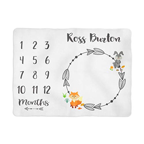 Woodland Cloth Growth Chart - Month to Month Baby Blanket, Baby Boy Milestones, Monthly Baby Pictures, Baby Boy Blanket, Baby Growth Chart, Woodland Animals (60x80) White