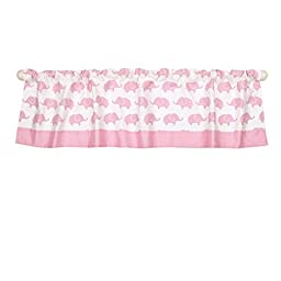 Pink Elephant Print Window Valance by The Peanut Shell - 100% Cotton Sateen