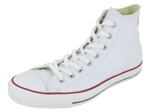 r All Star Leather High Top Sneaker, White, 9 M US ()