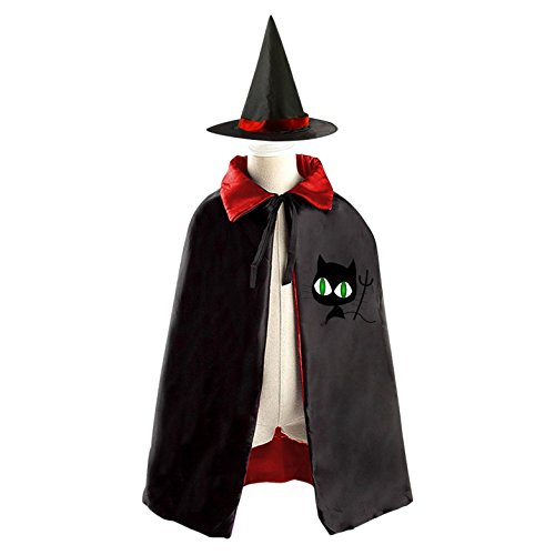 3 Person Matching Costumes (Green Eyes Cat Deluxe Unisex Kids Halloween Reversible Costumes Cloak Cape With Witch Hat)