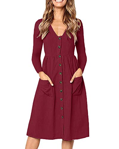 Line Women (Valphsio Womens Long Sleeve V Neck Dress Button Down Casual A Line Midi Dresses Pockets)